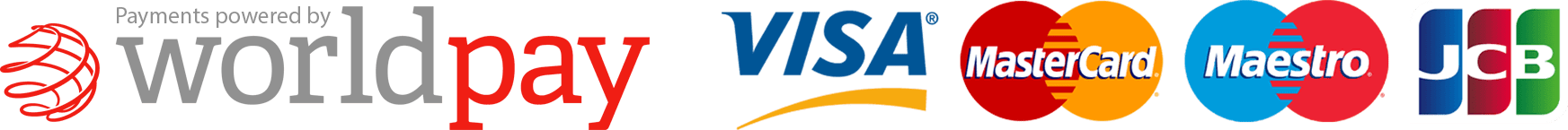 WorldPay Payments accepted with Visa, MasterCard, Maestro and JCB
